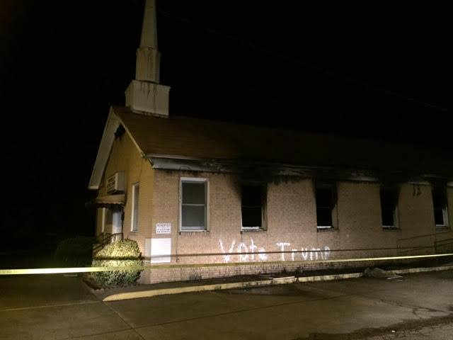 "Mississippi black church burned and spray painted ""Vote Trump"""