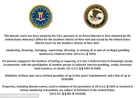 FBI shut down three of largest poker sites