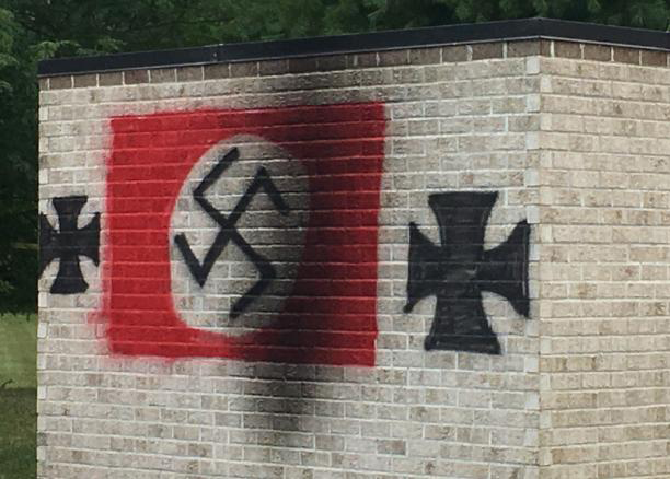 Vandals paint Nazi symbols on wall at Jewish temple in Indiana