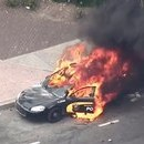 Baltimore Police Cars in Flames