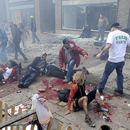 Injured people and debris