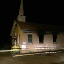 "Photo: Mississippi black church burned and spray painted ""Vote Trump"""