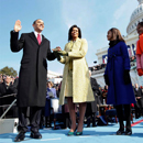 Barack H. Obama is sworn in as the 44th president