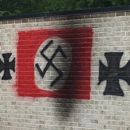 Photo: Vandals paint Nazi symbols on wall at Jewish temple in Indiana